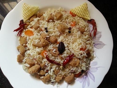 Simple soya chunks ghee rice